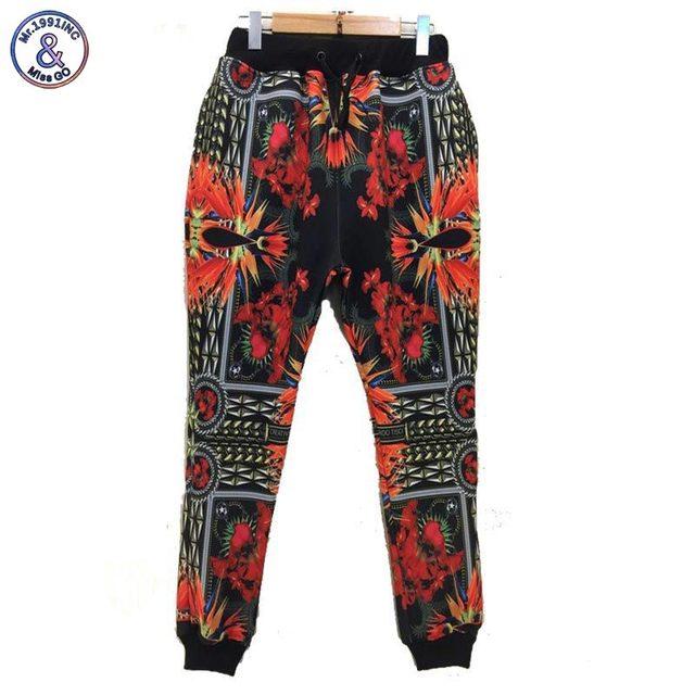 Mr.1991INC Flores impreso hombres/mujeres 3d emoji joggers sweatpant largo harem pant pantalones casuales P45