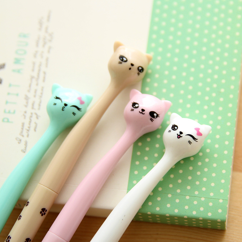 12 pcs/lot Cute Candy Color Bow Cat Gel Ink Pen 0.5mm Kawaii Cartoon Maker Pens School Office Stationery Supplies 5packs lot 10 colors new cute cartoon colored gel pen set kawaii stationery gift office