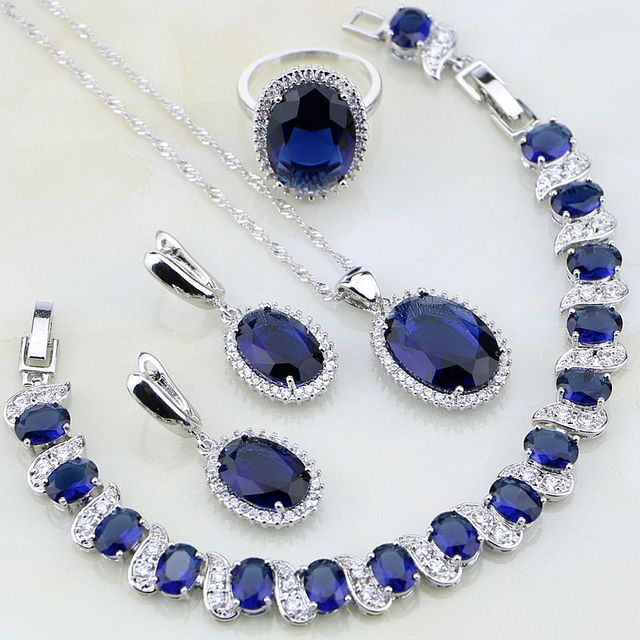 a16b8e763 Oval 925 Sterling Silver Jewelry Blue Stones White CZ Jewelry Sets For  Women Wedding Earring/Pendant/Necklace/Bracelet/Ring