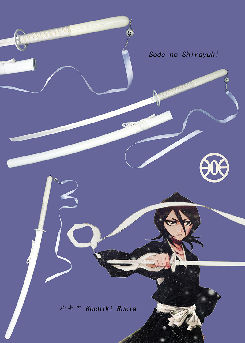 Free Shipping Rukia Kuchiki Sode Shirayuki White Samurai Sword Katana Stainless Steel Blade Bleach Anime Copslay