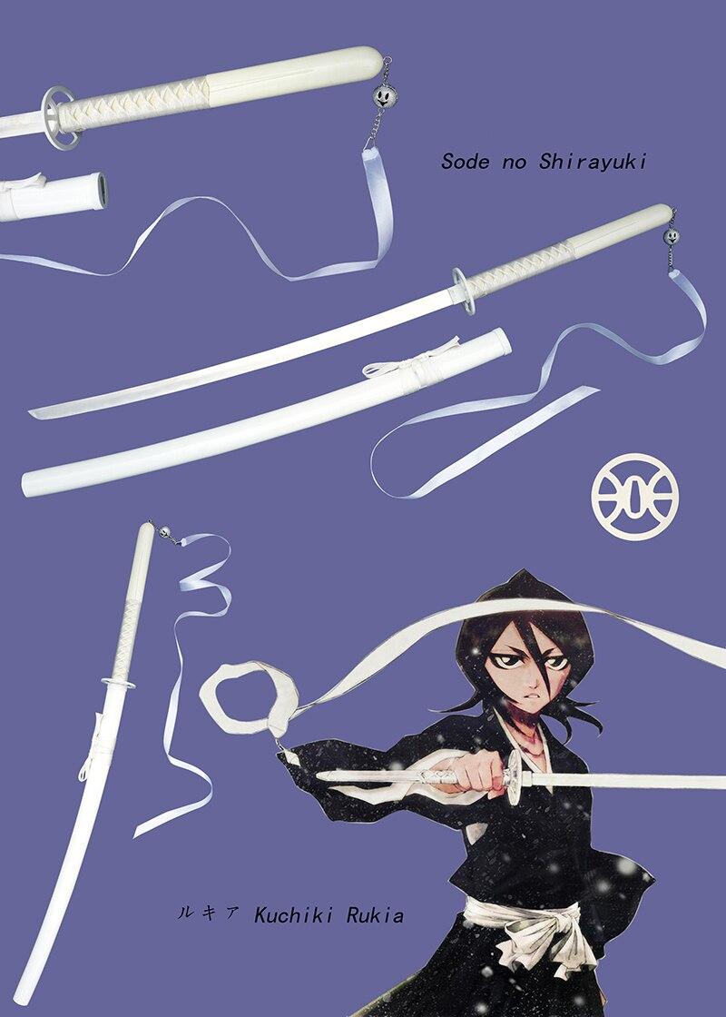 Frete Grátis Rukia Kuchiki Sode Shirayuki Espada Samurai Katana Lâmina de Aço Inoxidável Bleach Anime Copslay Branco Adereços