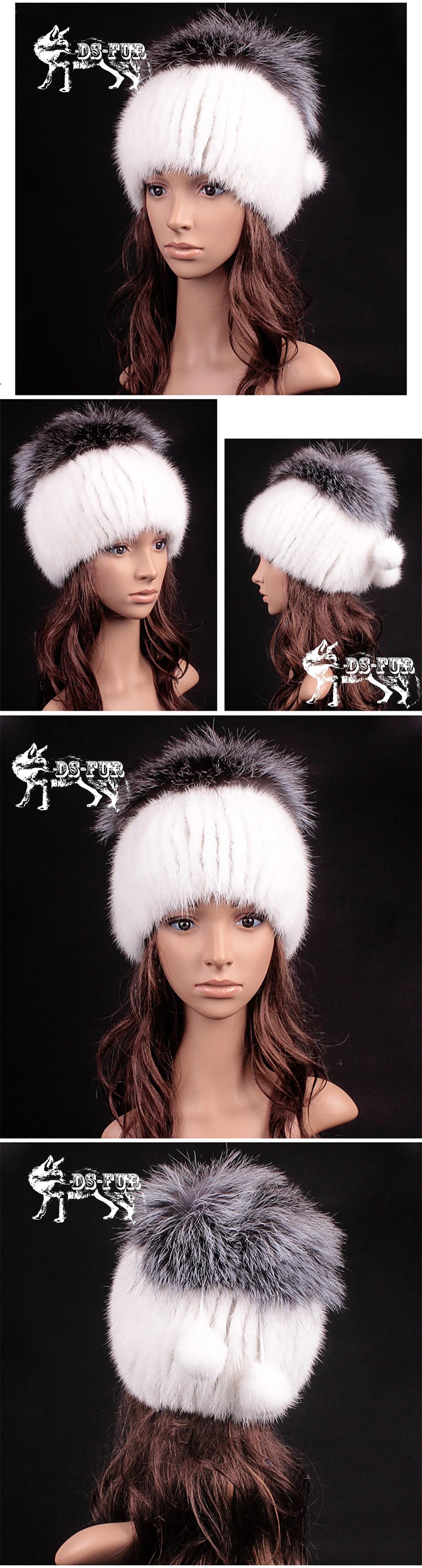 Mink fur knitting hat silver fox hair pom 03
