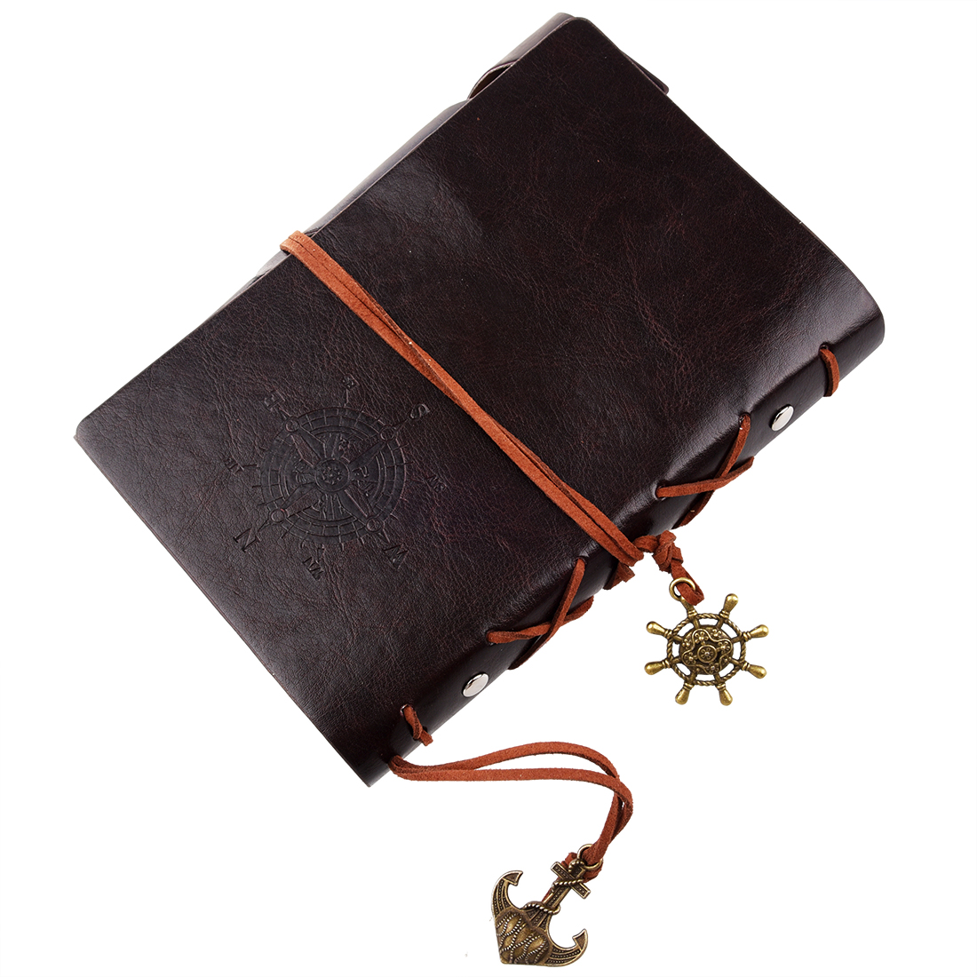 Spiral NoteBook Newest Diary Book Vintage Pirate Anchors PU leather Note Book Gift Traveler Journal (Dark brown 18.5X13cm)