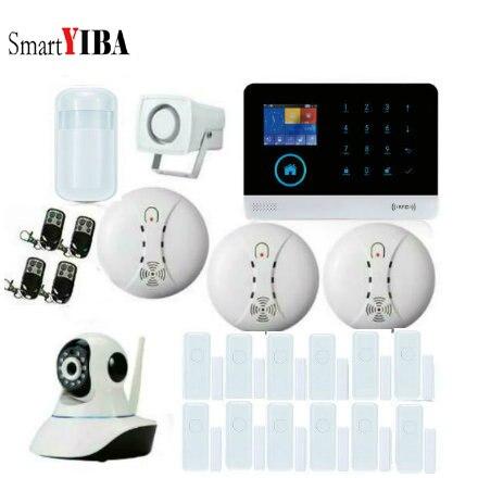 SmartYIBA IOS Android APP contrôle réseau caméra fumée/feu PIR Kit d'alarme de mouvement GSM SMS système d'alarme antivol pour la sécurité à la maison