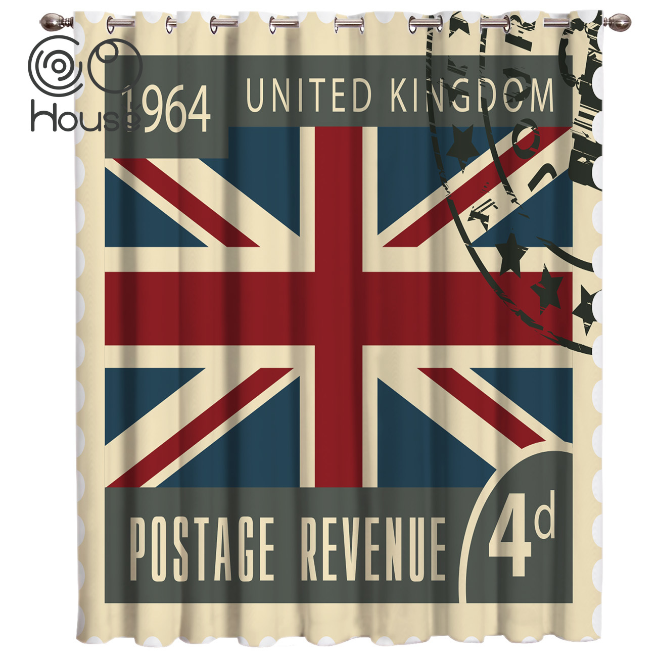 Vintage London Stamp Window Treatments Curtains Valance Window Curtains Dark Living Room Blackout Bedroom Kitchen