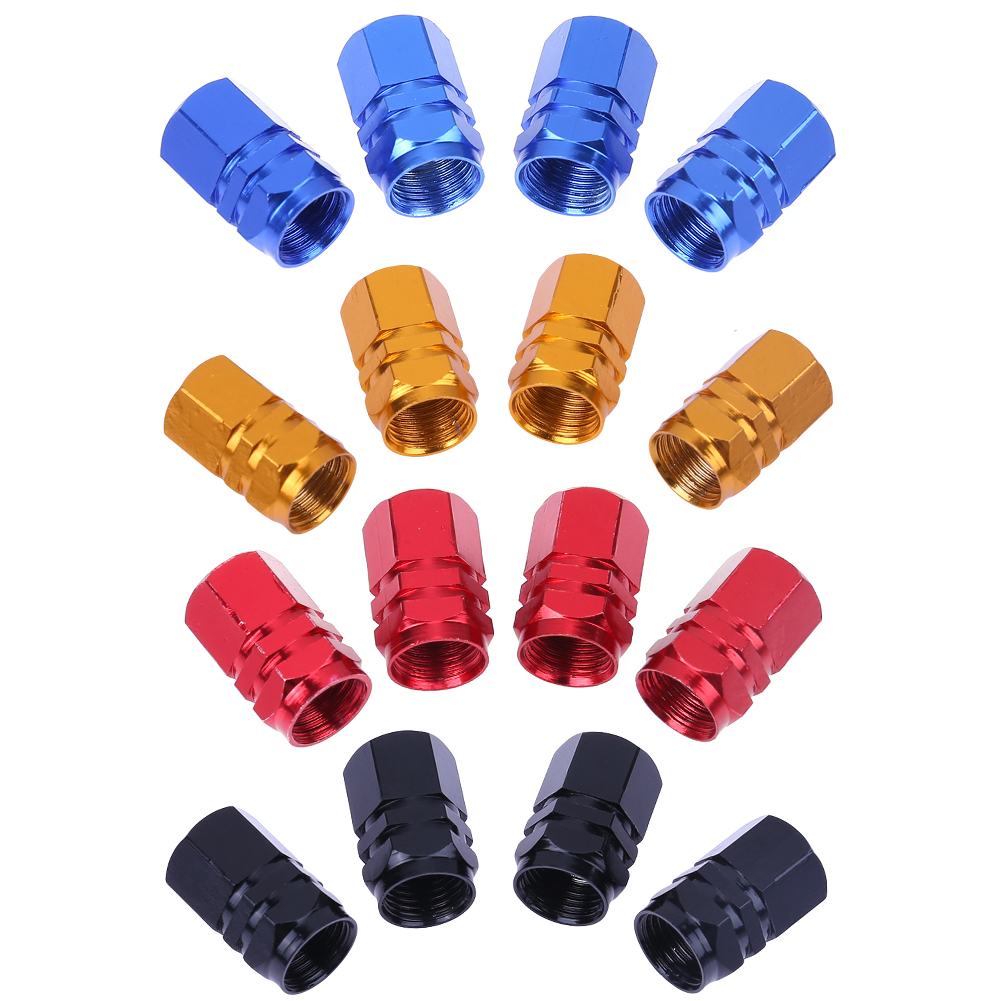 4Pcs Universal Aluminum Car Tyre Air Valve Caps Bicycle Tire Valve Cap Car Wheel Styling Round Alloy caps 16 X 10 X 10mm ryanstar racing car universal 16 5mm aluminum alloy tire tyre valve caps