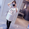 3078# 2017 Summer Letter Printed Cotton Maternity T-shirts Plus Size Loose Clothes for Pregnant Women Pregnancy Tees Tops