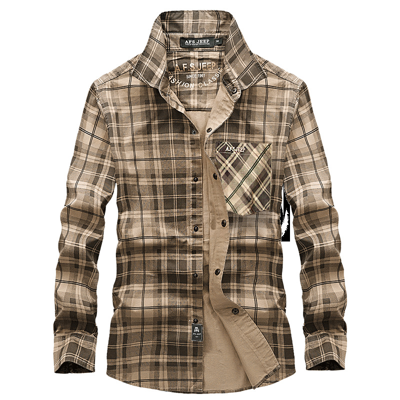 New Brand Plaid Shirt Men Spring Long Sleeve Turn-down Collar 100% Cotton Men Dress Shirt Plus Size M-XXXL Military Shirt Male Рубашка