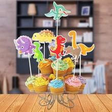 Dinozaur tematyczne wykaszarki do ciast Dino babeczka na przyjęcie owijarki dekoracje na przyjęcia urodzinowe dla dzieci dobrodziejstw chorągiewki na tort Baby Shower