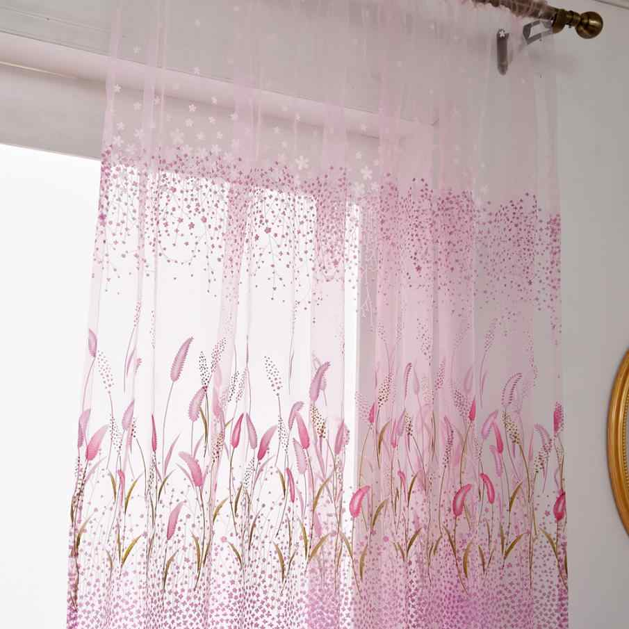 200*100CM Leaves Tulle Sheer Curtain Country Style Window Curtains Voile Curtains for window bedroom living room decoration