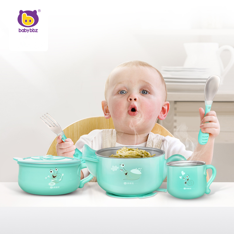 Babybbz Baby Feeding Bowl Dishes Spoon Tableware Cutler Utensils for Toddler Kids Anti drop Cartoon Suction Cup Insulation Bowl