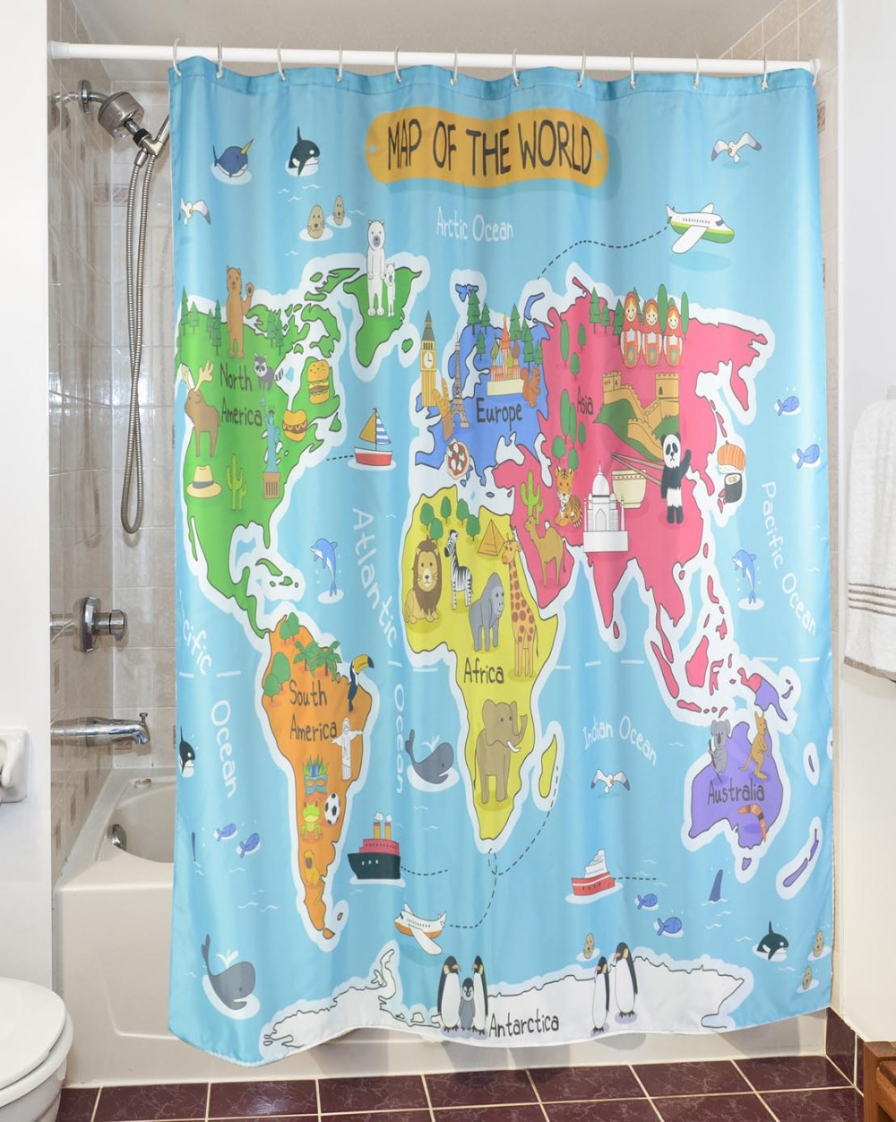 Shower curtain colorful kids world maps decor printing waterproof 3d new cartoon world map waterproof shower curtain polyester fabric curtain for bathroom bath curtain cortinas gumiabroncs Images
