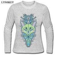 LYNSKEY Cat Abstraction Crewneck T Shirt Summer Fall Casual Tops Shirts Long Sleeve Brand 100 Cotton