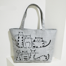 Cartoon Cats Print Zipper Bag