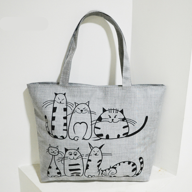 cartoon cats printed beach zipper bag bolsa feminina canvas tote shopping handbags sac a main. Black Bedroom Furniture Sets. Home Design Ideas
