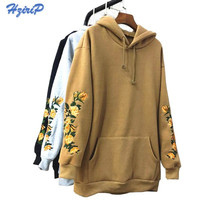 2017 New American Apparel Hooeded Sweatshirt Women Elegant Embroidery Flowers Long Sleeved Pullover Fashion High Quality