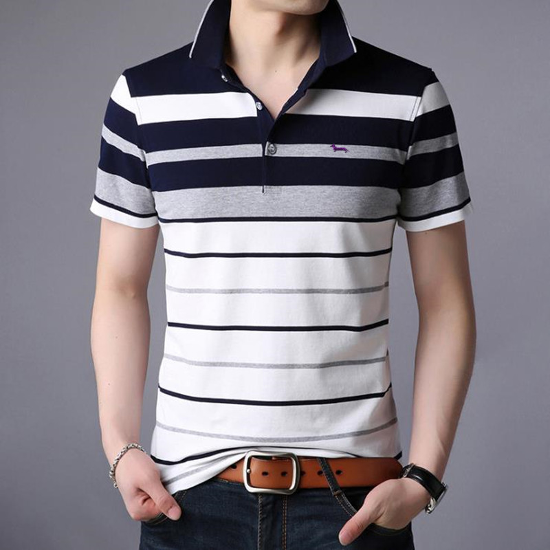 2018 New Men summer casual shirt slim fit short sleeve 100%cotton breathable soft business striped embroidery shirts Po11 3