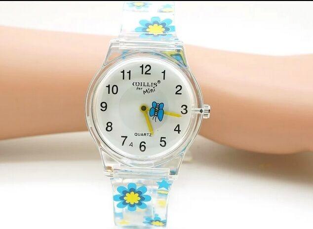 Hot Sale Flower Printed Wrist Watch Children Watches Cute Cartoon Watch Kids 3D Plastic Digital Watch Boy Clock Hour Gift Montre