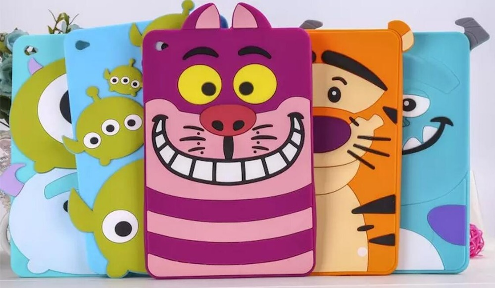 For ipad air 1 2 soft case Cute animal cartoon 3D Monsters Sulley Tiger Cat Silicon Skin Shell For APPLE iPad air 2 Cover coque for ipad mini4 cover high quality soft tpu rubber back case for ipad mini 4 silicone back cover semi transparent case shell skin