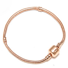 dcbc2fa2d SPINNER Rose Gold and Gold 2 Color Snap Clasp Snake Chain Charm Pandora DIY  Bracelets & Bangles For European Beads jewelry
