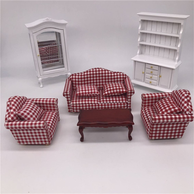 1 12 dollhouse furniture toy for dolls miniature red soft sofa tea table white cabinet pretend