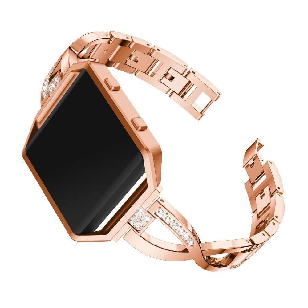 Penggantian Stainless Steel Frame Case Penutup Shell untuk Fitbit Blaze Tali Band Gelang untuk Fitbit Blaze Band Wanita Seperti