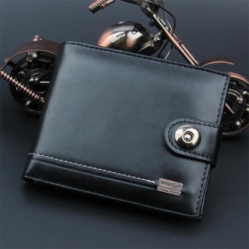 New PU Leather Men Wallets Short Coin Purse Small Vintage Wallet Hasp Zipper Money Bag Card Holder Pocket Purse Black Wallet