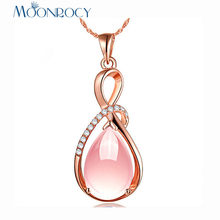 MOONROCY Rose Gold Color CZ Ross Quartz Pink Opal Crystal Necklace Pendant Chokers for Women Waterdrop Girls Gift Choker(China)