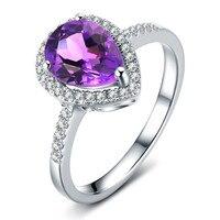 Natural Amethyst Ring 925 Sterling silver Pear Cut Purple Crystal Woman Fashion Fine Elegant Jewelry Queen Birthstone Gift