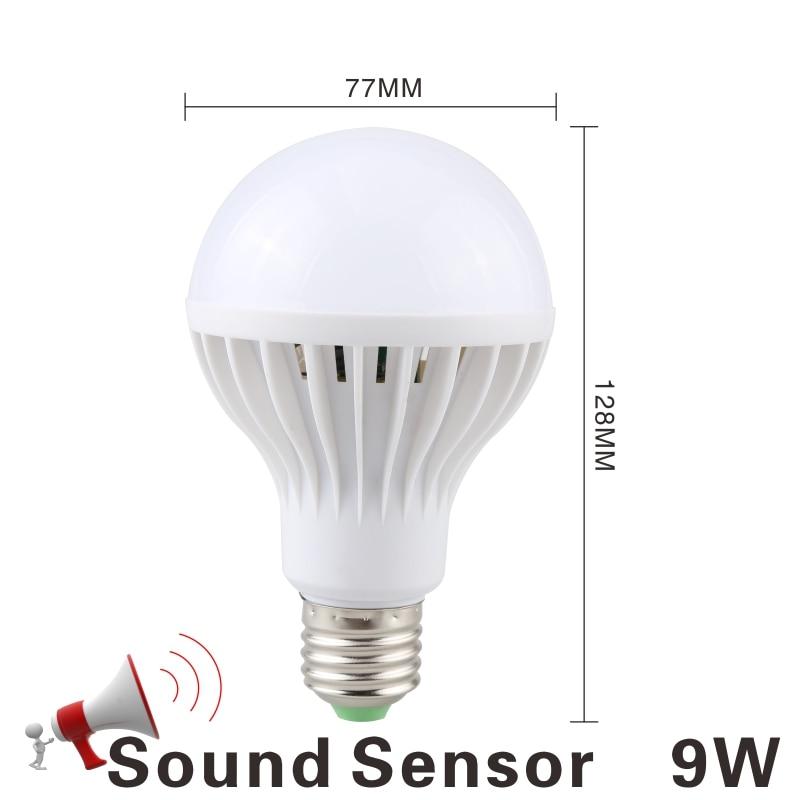 Светодиодная лампа 3W, 5 Вт, 7 Вт, 9 Вт, PIR датчик движения, лампа переменного тока, 220 В, 230 В, авто, умный Led PIR инфракрасный светильник для тела, E27, светильник с датчиком движения - Испускаемый цвет: 9W Sound Sensor