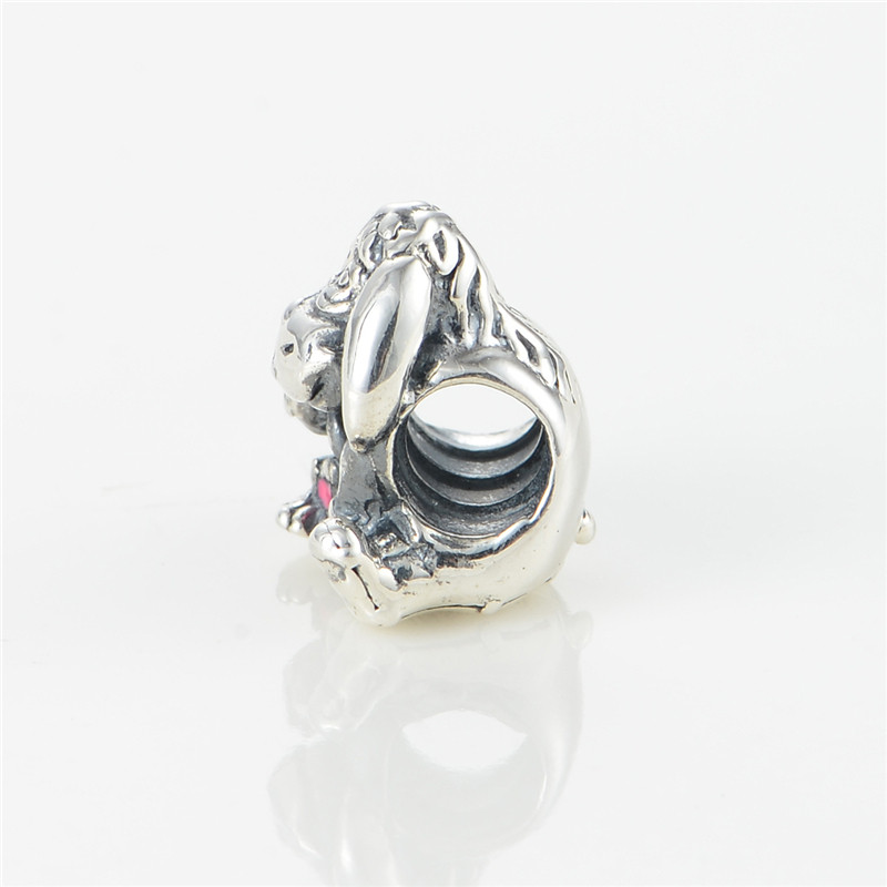 Eeyore With Dark Pink Beads Fit Pandora Charms Silver 925 Original Bracelet Women Fashion Jewelry Disny Beads For Jewelry Making  (3)