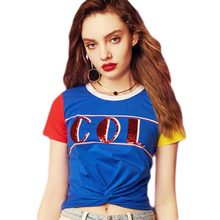 Summer T-shirt Women 2019 New Round Neck Contrast Color Letter Sequins Short-sleeved Fashion Streetwear T Shirt Female HJ240 contrast letter print pocket camo t shirt