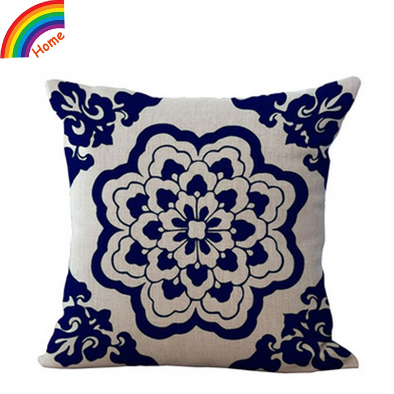 Porcelain Blue Decorative Pillows : China Style Blue And White Porcelain Flower Pattern Cotton Linen Decorative Throw Pillow Case ...