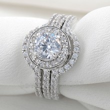 choucong Vintage Jewelry Stone 5A Zircon stone 10KT White Gold Filled 3-in-1 Engagement Wedding Ring Set Sz 5-11 Gift