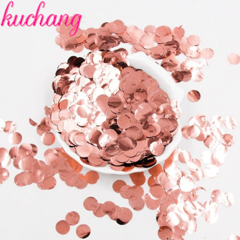 <font><b>30</b></font>/50g 1cm / 2.5cm Metallic Rose gold <font><b>Confetti</b></font> Birthday balloon filer Baby Shower Table Decoration Birthday Princess Party image