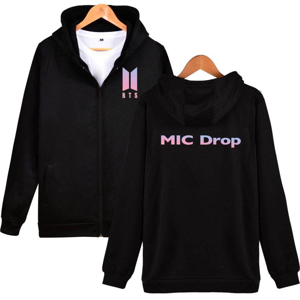 2017 BTS MIC Drop Zipper Hoodies Sweatshirt Kpop Sweatshirt Female BTS logo Fashion Bangtan Boys Winter Clothes