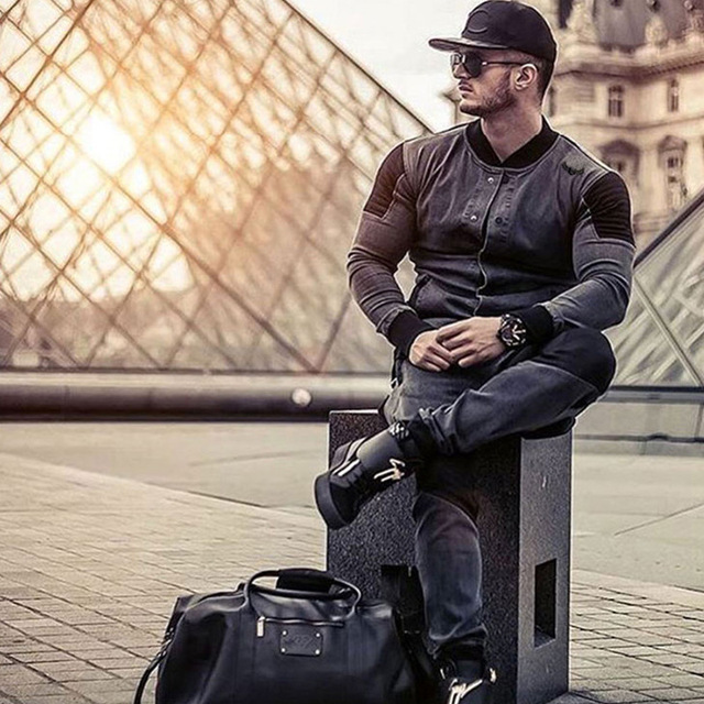 Men Washed denim jacket Fashion Sports training suit stand collar jacket for men Patchwork Design 2018 spring autumn new MMA Kickboxing