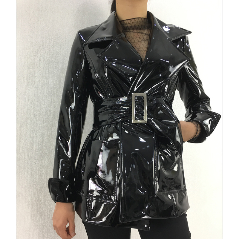 2019 Spring Autumn New Medium Long Belt Patent Leather Coats Female PU Leather Jacket BF Motorcycle Jackets Black W1687