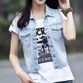 Женщин жилет весна лето рукавов пальто плюс размер женщин джинсовой жилет Жилет женский 3XL