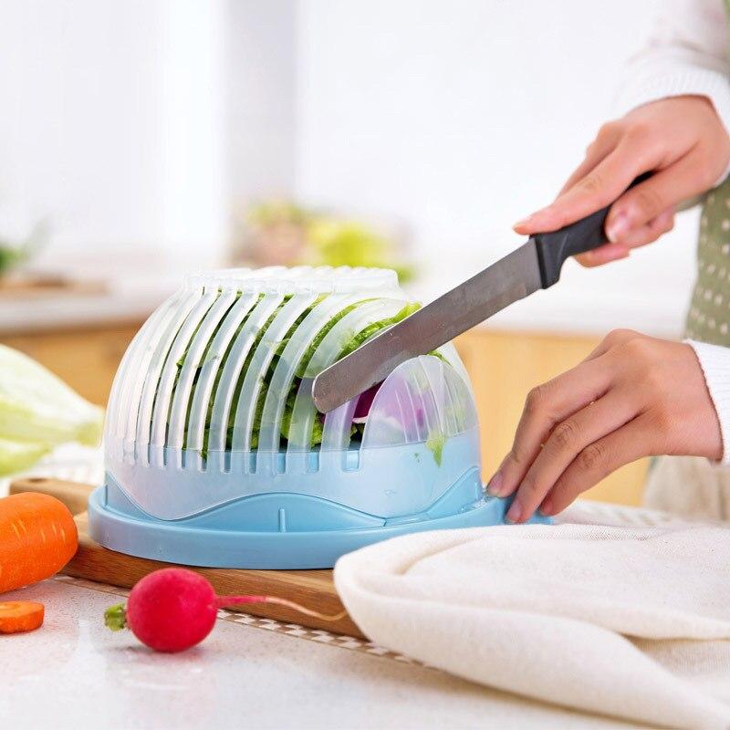 60 secondes salade cutter bowl cut fruits légumes salade bol cuisine Créative outils grand grand en plastique de mélange set adaptateur (bleu)