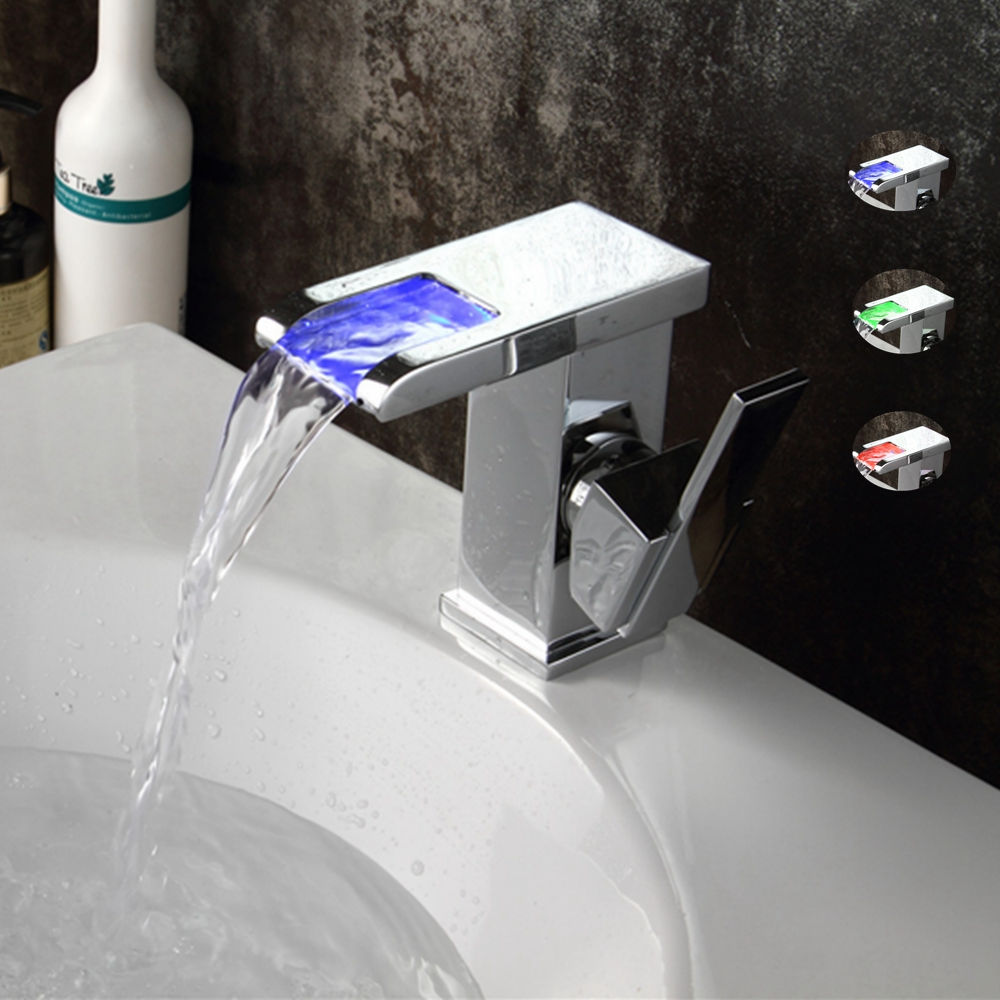 Led Faucet Light Water Tap Temperature Controlled Bathroom Waterfall Sink Square Faucet torneira water power faucet temperature controlled 3 colors led waterfall basin tap brass chrome bathroom faucet b 9001