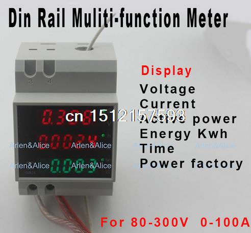 Din rail LED AC 80-300V 0-100.0A voltmeter ammeter display active power and power factor time Energy meter voltage current micro usb battery charger backup for samsung galaxy s4 mini i9190 black