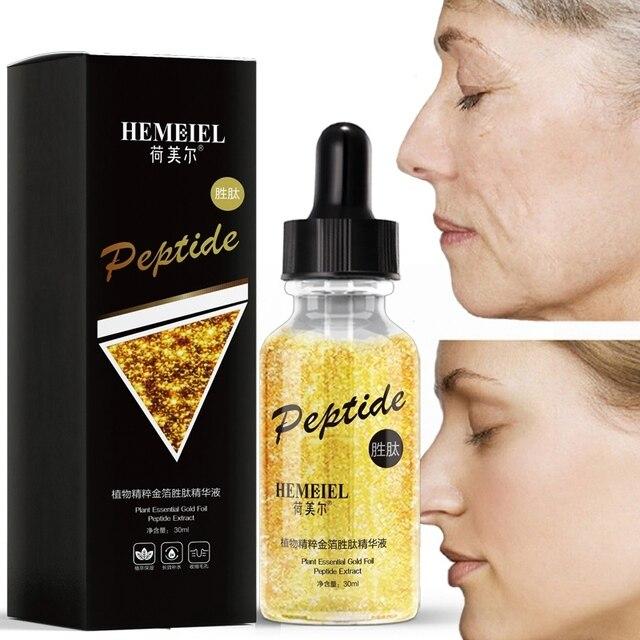 Papel de oro péptido polipéptido esencia blanqueamiento suero Anti-envejecimiento Facial Anti-arrugas hidratante suero de hierbas