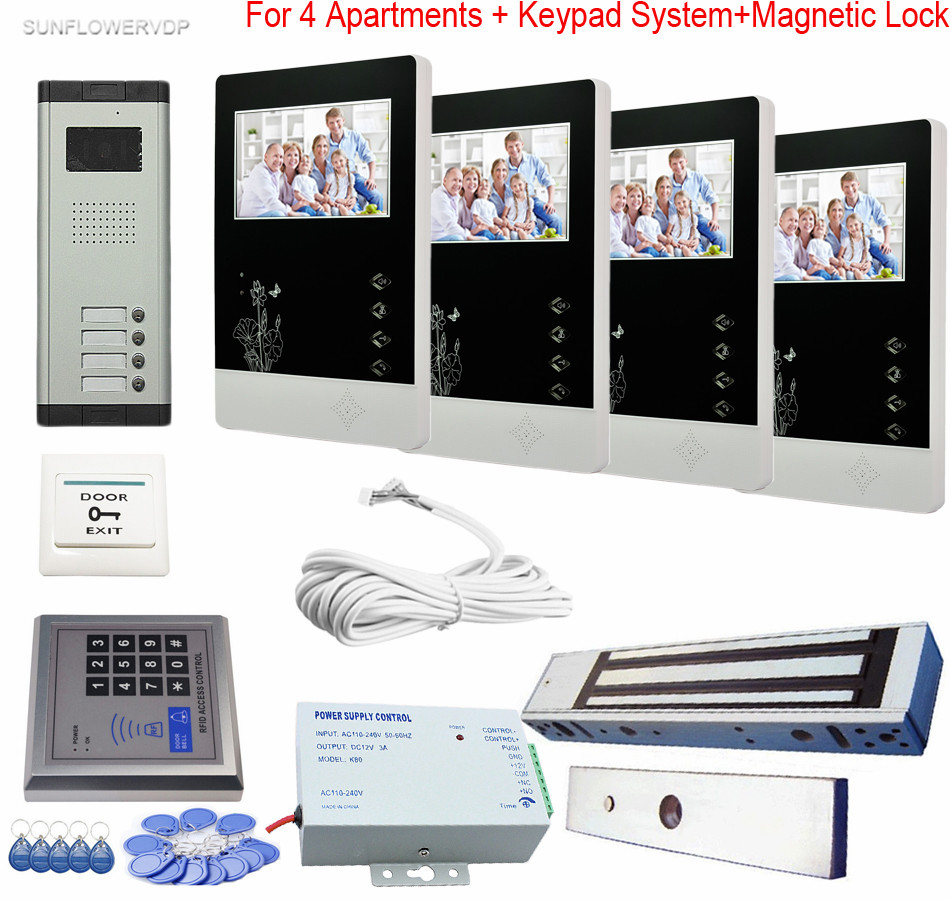 Access Control Keypad Doorphone Video Intercom For 4 Apartments Night-vision CCD Outdoor Camera + Magnetic Lock Color 4.3 LCD