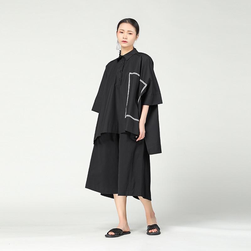 Trois Chauve Manches Lâche 2018 Chemise Streetwear Noir Hongsonghan Trimestre Amour Marée Chemises souris blanc Géométrique Solide Couleur EqTSxwxP