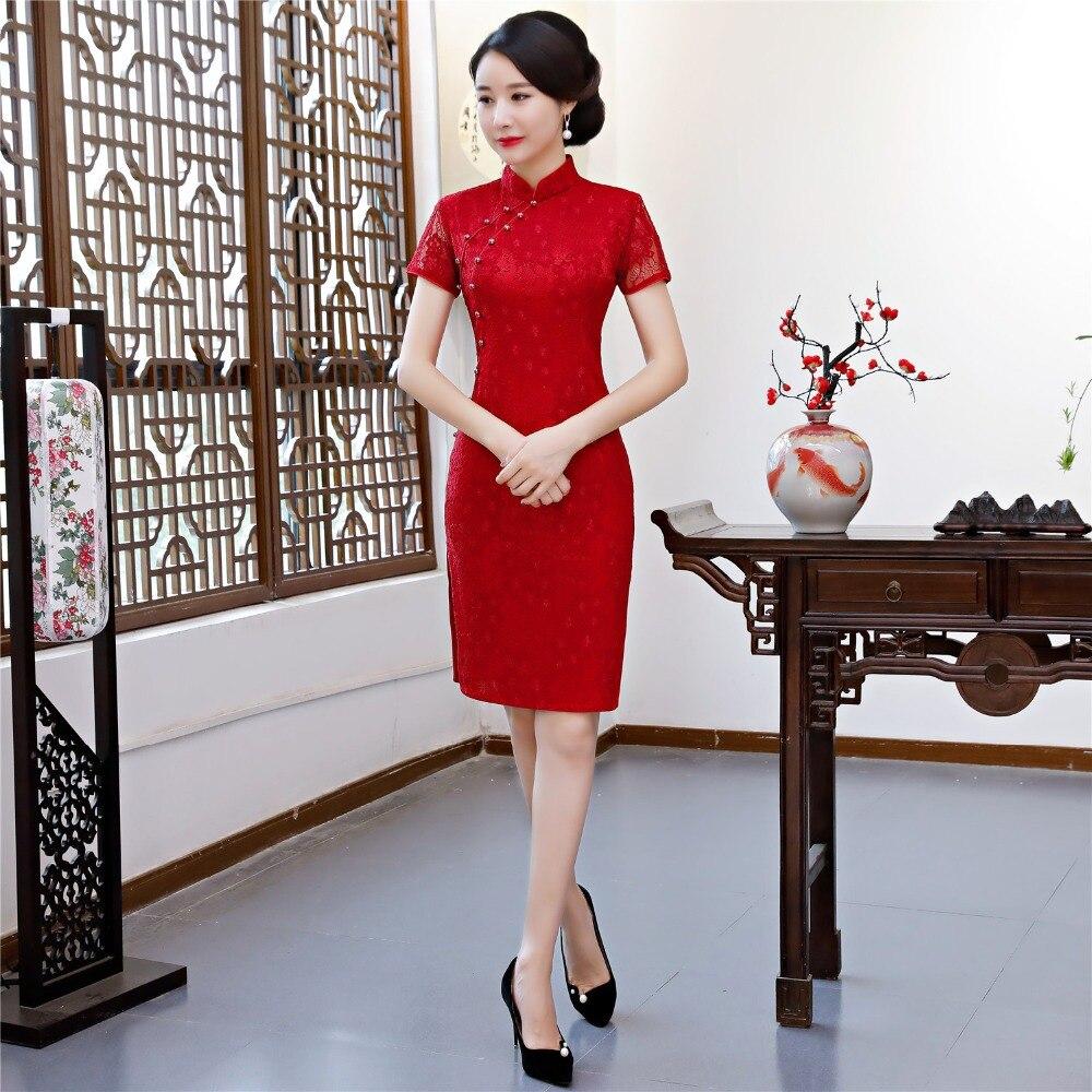 Shanghai histoire dentelle Cheongsam chinois traditionnel robe chinoise style oriental robes genou longueur Qipao robe