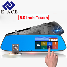 E-ACE 5.0 inch Touch Screen Dash Cam Full HD 1080P Car Dvr Mirror With Rear View Camera DVRs Auto Automotive Car Video Recorder