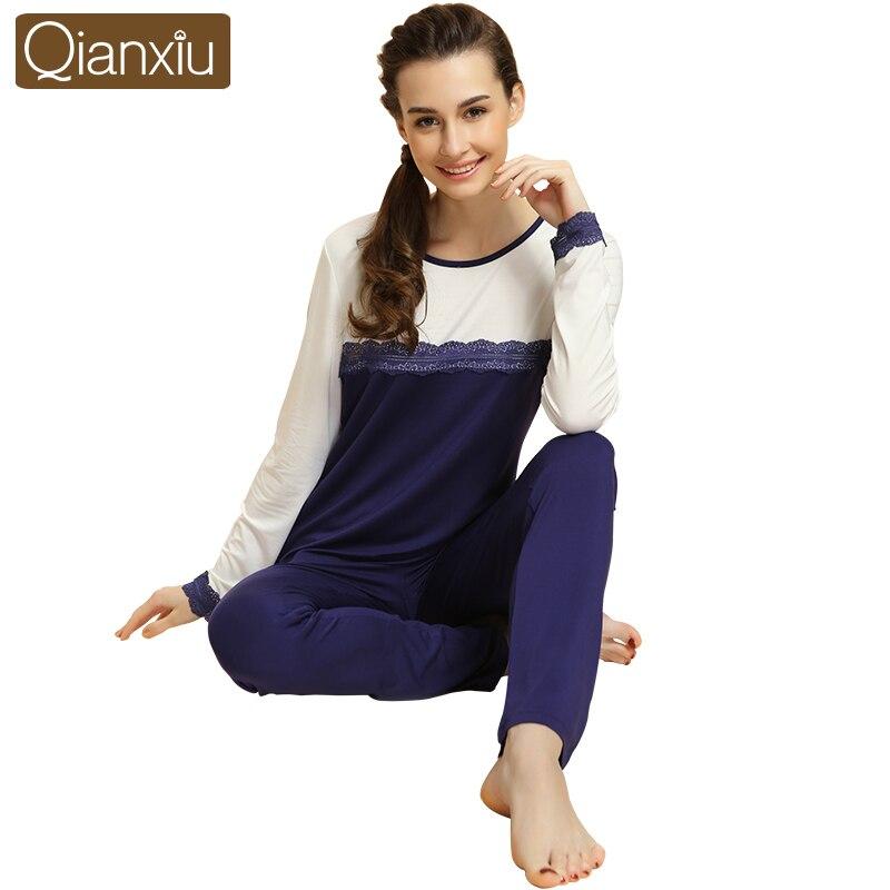 Spring Top Qulaity Pijamas Female Lace Patchwork Pajama Sets Women Modal Sleepwear Suit Ladies Long Sleeve T Shirt +Pants