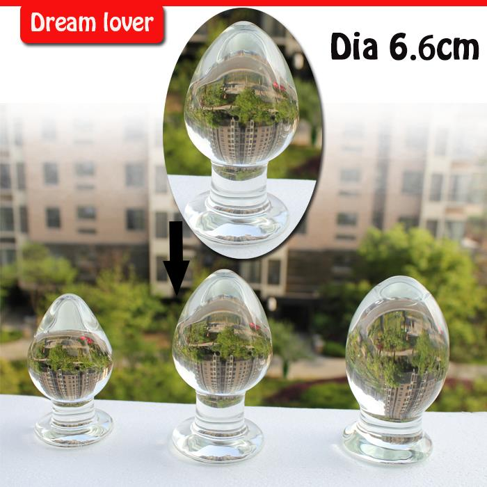 M size 6.6cm diameter 2014 Real Erotic Toys Sex Products Super Big Glass Anal Butt Plug  crystal G-spot Massage new anal dildo realistic dildo with strong suction cup fake penis long butt plug anal plug sex toys for women sex products