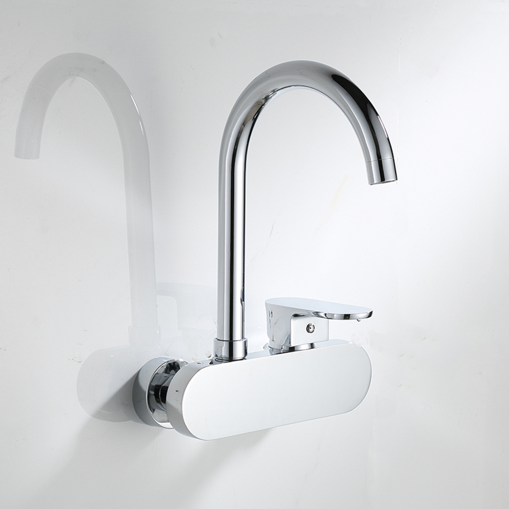 все цены на Top quality kitchen wall mounted hot and cold water mix taps bathroom single handle chromed brass faucets bathroom accessories